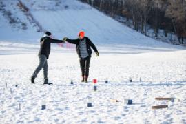 Playing winter Kubb at Pinehurst Park
