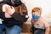 Dad and son holding a baby goat at Govin's Farm