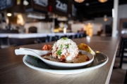 Giant meatball appetizer served at Za 51 in River Prairie