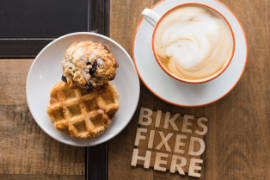 Coffee, muffin and waffle served at SHIFT