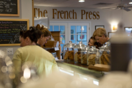 Buying baked goods from the French Press