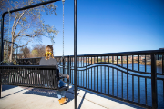 Looking at the view of the Chippewa River on a swinging bench