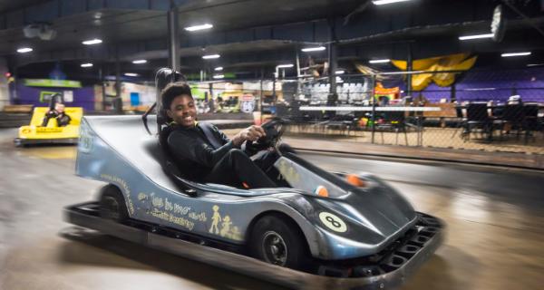 Riding go-karts at Action City