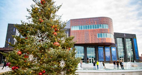 Christmas tree in Haymarket Plaza