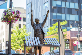 Sculpture of maestro in downtown Eau Claire