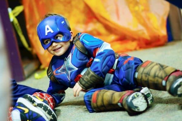 Boy in superhero costume for Halloween