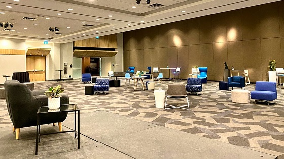 Macleod Hall at the Calgary TELUS Convention Centre set for socially distanced events.